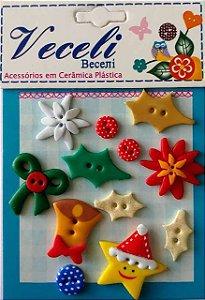 Kit botões Natal - estrela, com 12 botões sortidos - Veceli Botões