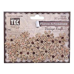 Flores artesanais Vintage Kraft - Toke e Crie