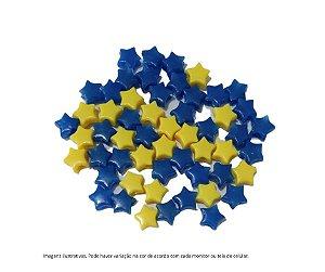 miçangas estrelinhas (plástico) azul escuro e amarelo - 15 gramas