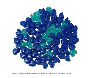 Miçangas coraçoes (plástico) verde tranparente e azul escuro- 20 gramas
