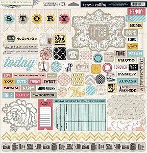 Chipboard adesivado 30x30 - Summer Stories - Teresa Collins