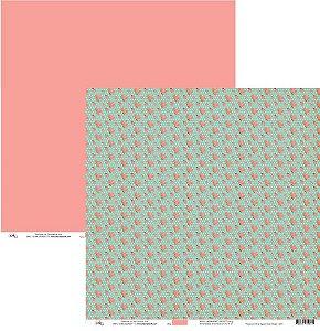 Papel para scrapbook  - Rosas com Verde Água e Rosa Vintage - 8804 - Ok Scrapbook