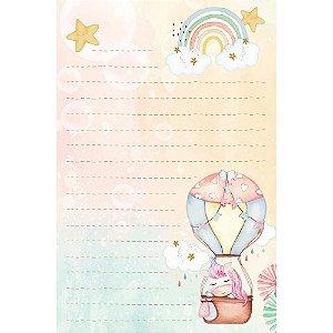 Kit papel de carta PEC 016 - 5 folhas - Unicórnio - Litoarte