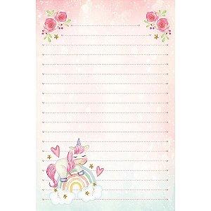 Kit papel de carta PEC 018 - 5 folhas - Arco Iris e Unicórnio - Coleção Algodão Doce - Litoarte