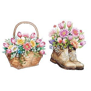 Aplique em MDF  Bota e cesto de flores  - APM4-432 - Litoarte