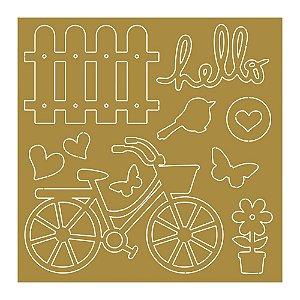 Cartela de apliques em acrílico dourado APA-004 - Coleção Encanto   Litoarte
