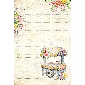 Kit papel de carta PEC 019 - 5 folhas - Carrinho com Flores - Coleção Encanto - Litoarte