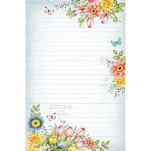 Kit papel de carta PEC 020 - 5 folhas - Flores - Coleção Encanto - Litoarte
