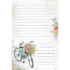 Kit papel de carta PEC 021 - 5 folhas - Bicicleta com Flores - Coleção Encanto - Litoarte