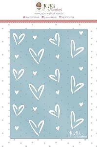 Stencil Corações - Coleção Espalhando Amor - JuJu Scrapbook