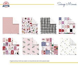 Kit 8 papéis - Coleção Espalhando Amor - JuJu Scrapbook