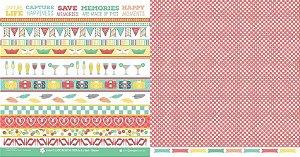 Papel para scrapbook - 30x30 O Lado Bom da Vida - Stripes - Scrapdiary