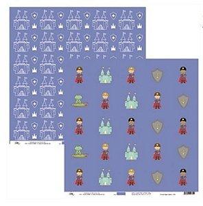 Papel para scrapbook - 30x30 Príncipes Tags e Castelos - Ok Scrapbook
