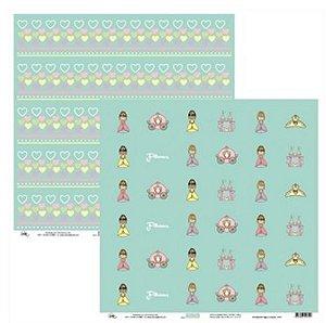 Papel para scrapbook - 30x30 Princesas Mini Tags e Corações - Ok Scrapbook