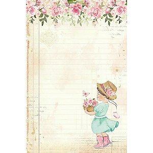 Papel de carta Menina PEC-022 - 5 Folhas -  Mon Monde Rose - Litoarte