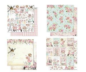 Kit 4 papéis coleção Mon Monde Rose - Litoarte