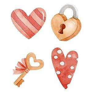 Aplique MDF Corações, chave e cadeado APM3-288 Amor Aquarela - Litoarte