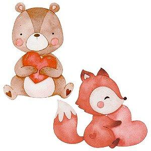 Aplique MDF Urso e Raposa APM4-439 Amor Aquarela- Litoarte