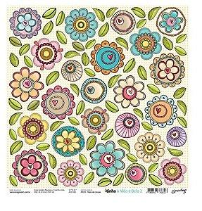 Papel para scrapbook Flores do coração - Goodies