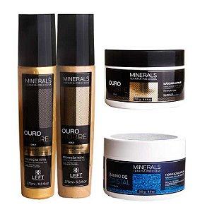 Kit Hidratante Ouro Nobre Home Care (3 itens) + Máscara Banho de Cristal 250g Cabelo com Química