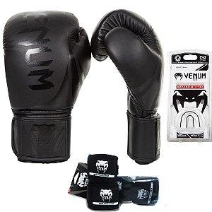 Kit Boxe e Muay Thai Venum Challenger 2.0 PRETO