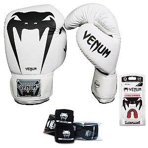 Kit Boxe e Muay Thai Venum Giant Brasil - BRANCO