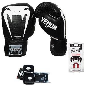 Kit Boxe e Muay Thai Venum Giant Brasil - PRETO