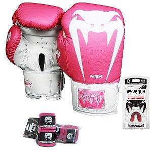 Kit Boxe e Muay Thai Venum Giant Brasil - ROSA