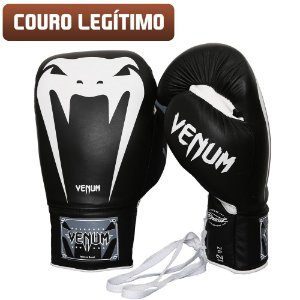 Luva Venum Giant Brasil 3.0 Couro Legítimo - PRETA