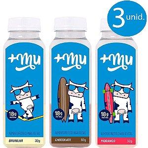 3 Garrafinhas de Proteína (chocolate-morango-baunilha) +Mu