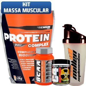 Kit Massa Muscular Whey (1,8kg) + Bcaa (120caps) + Pré Treino (225g) + Coqueteleira