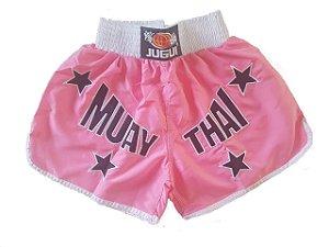 Short de Muay Thai Jugui - ROSA E BRANCO