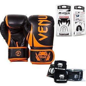 Kit Boxe Venum Challenger PRETO/LARANJA