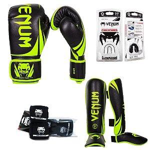 Kit Muay Thai Venum Challenger 2.0 VERDE/PRETO