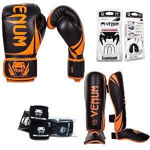 Kit Muay Thai Venum Challenger Laranja/Preto
