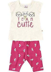 Conjunto Brandili Blusa Mini Vestido Cutie e Legging Poodle Pink