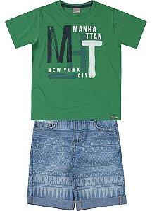 Conjunto Brandili Camiseta Mundi Verde e Bermuda Jeans