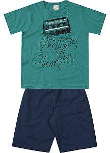 Conjunto Brandili Camiseta Break Verde e Bermuda