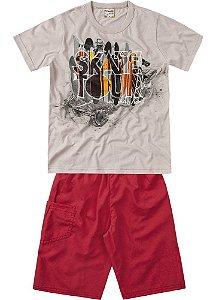 Conjunto Brandili Camiseta Skate e Bermuda Vermelha