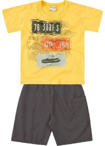 Conjunto Brandili Camiseta Amarela 76 Surf e Bermuda