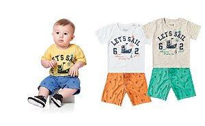 Conjunto Kiko & Kika Baby  Camiseta e Bermuda Marinheiro