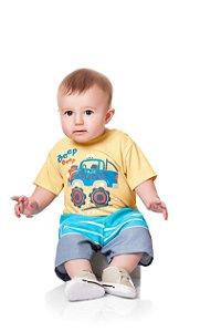 Conjunto Kiko & Kika Baby Camiseta Beep e Bermuda de Tactel Listrada