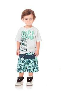Conjunto Kiko & Kika Camiseta Surf Time e Bermuda Escrita