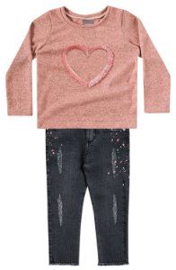 Conjunto Brandili Blusa Coração Salmão e Calça Jeans
