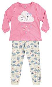 Pijama Brandili Blusa Nuvem Rosa e Calça