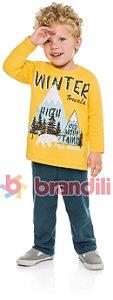 Conjunto Brandili Blusão Amarelo Winter e Calça de Moletom