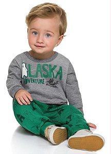 Conjunto Brandili Moletom Alaska Cinza e Calça de moletom Verde
