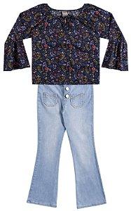 Conjunto Brandili Blusa Viscose Floral e Calça Jeans