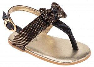 Sandália Doçura Preta e Dourada Pimpolho