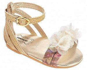Sandália Dourada Flores Pimpolho